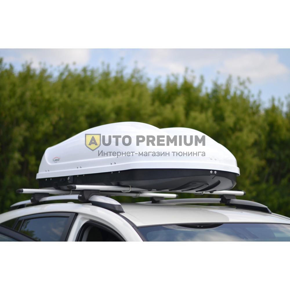 Автобокс на крышу Белый Turino 1 LUX (410 л) Аэродинамический с двусторонним открыванием на крышу автомобиля