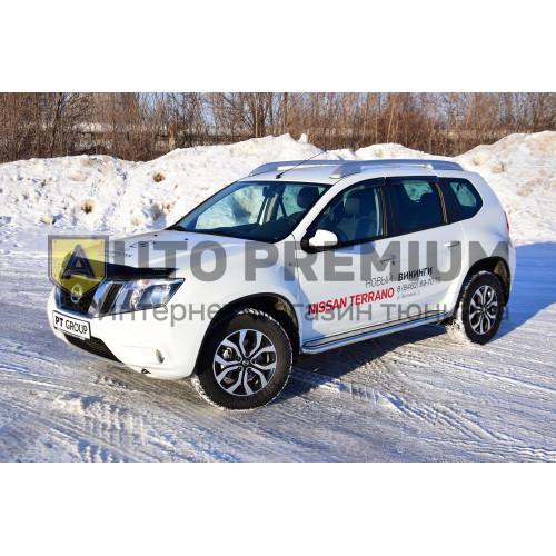 Защита порогов «Эстонец» с алюминиевой площадкой Ø51 мм (НПС) Nissan Terrano с 2014